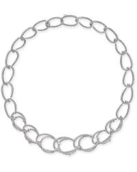 "Danori - Silver-tone Pavé Link 16"" Collar Necklace, Created For Macy's - Lyst"