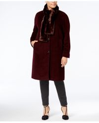 Jones New York - Plus Size Walker Coat With Faux-fur Scarf - Lyst
