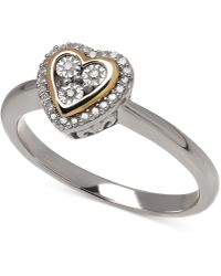 Macy's | Diamond (1/10 Ct. T.w.) Heart Ring In 14k Gold Over Sterling Silver | Lyst