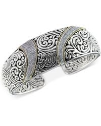 Effy Collection - Diamond (5/8 Ct. T.w.) Swirl Pattern Hinged Cuff Bracelet In Sterling Silver & 18k Gold - Lyst