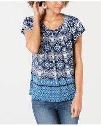 Style & Co. - Petite Pleated Printed Top, Created For Macy's - Lyst