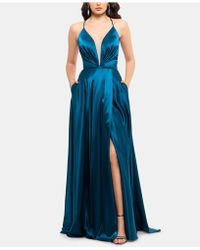 7bfb1784aa61 Xscape Plus Size Ruched Lace Gown in Blue - Lyst
