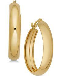 Macy's - Polished Flex Hoop Earrings In 10k Gold, 4/5 Inch - Lyst