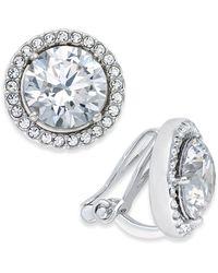 Danori - Silver-tone Crystal Halo Clip-on Earrings - Lyst