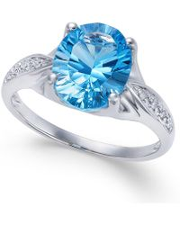 Macy's - Blue Topaz (3 Ct. T.w.) And Diamond Accent Ring In 14k White Gold - Lyst