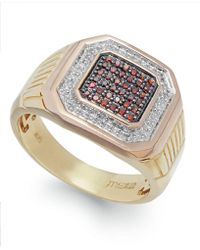 Macy's | Men's Two-tone Diamond Ring In 10k Gold (1/4 Ct. T.w.) | Lyst