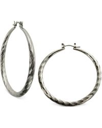 "Guess - Silver-tone 2"" Textured Hoop Earrings - Lyst"