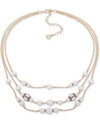 "Anne Klein - Gold-tone Pavé & Bead Triple-row Collar Necklace, 16"" + 3"" Extender - Lyst"
