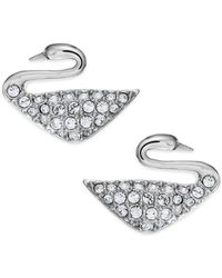 Swarovski - Rhodium-plated Crystal Swan Stud Earrings - Lyst