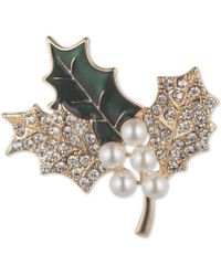 Anne Klein - Gold-tone Imitation Pearl & Crystal Holly Leaf Pin, Created For Macy's - Lyst
