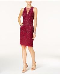 Adrianna Papell - Beaded A-line Dress - Lyst
