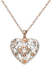 "Giani Bernini - Two-tone Filigree Heart 18"" Pendant Necklace In Sterling Silver & Rose Gold-plate, Created For Macy's - Lyst"