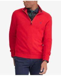 Lyst Polo Ralph Lauren Mens Half Zip Sweater In Red For Men