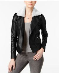 French Connection - Faux-shearling-collar Moto Jacket - Lyst