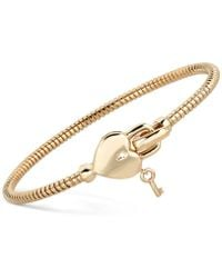 Macy's - Heart & Key Tubogas Bangle Bracelet In 14k Gold-plated Sterling Silver - Lyst