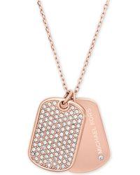 Michael Kors | Rose Gold-tone Pavé Dog Tags Pendant Necklace | Lyst