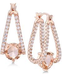 Macy's - Cubic Zirconia Small Captured Hoop Earrings In Sterling Silver - Lyst