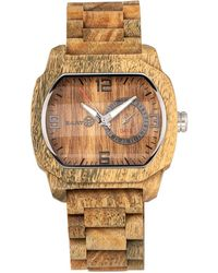 Earth Wood - Scaly Wood Bracelet Watch W/date Olive 46mm - Lyst