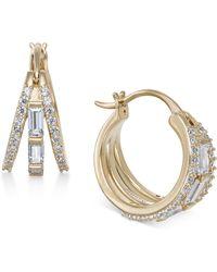 Danori - Silver-tone Baguette Crystal Triple Hoop Earrings, Created For Macy's - Lyst