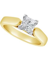 Macy's - Certified Princess Cut Diamond Solitaire Engagement Ring (1 Ct. T.w.) In 14k White Gold, Rose Gold, Or Yellow Gold - Lyst