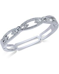Charter Club - Silver-tone Pavé Hinged Bangle Bracelet - Lyst