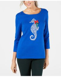Karen Scott - Embellished Cotton Graphic Top, Created For Macy's - Lyst