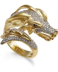 Macy's | Diamond Dragon Bypass Ring (1 Ct. T.w.) In 14k Gold-plated Sterling Silver | Lyst