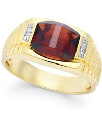 Macy's - Men's Garnet (4-1/3 Ct. T.w.) And Diamond Accent Ring In 10k Gold - Lyst