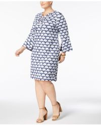 Charter Club - Plus Size Printed Lace-up Knit Dress - Lyst