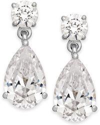 Arabella - Swarovski Zirconia Double Drop Earrings In 14k White Gold - Lyst
