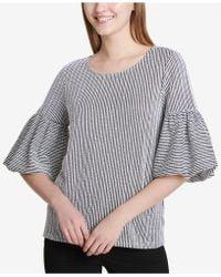 Calvin Klein - Textured Bell-sleeve Top - Lyst