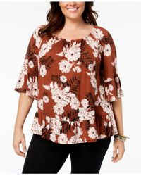Style & Co. - Plus Size Printed Off-the-shoulder Flounce Top, Created For Macy's - Lyst