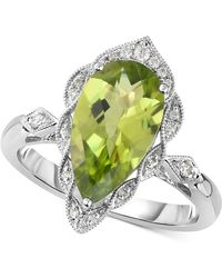 Macy's - Peridot (3-1/5 Ct. T.w.) & Diamond (1/10 Ct. T.w.) Ring In 14k White Gold - Lyst