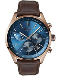 BOSS - Chronograph Grand Prix Brown Leather Strap Watch 44mm - Lyst