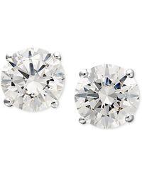 Arabella - 14k White Gold Earrings, Swarovski Zirconia Round Stud Earrings (1-3/4 Ct. T.w.) - Lyst