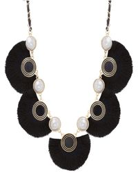 Catherine Malandrino - Simulated White Pearl And Black Silk Fan Design Yellow Gold-tone Necklace - Lyst