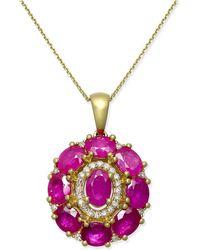 Macy's - Certified Ruby (4 Ct. T.w.) & Diamond (1/8 Ct. T.w.) Pendant Necklace In 14k Gold - Lyst