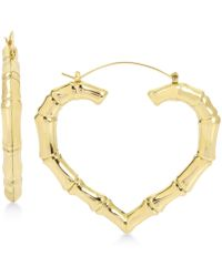 Betsey Johnson - Gold-tone Bamboo Heart Hoop Earrings - Lyst