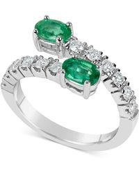 Macy's - Emerald (1 Ct. T.w.) And Diamond (1/2 Ct. T.w.) Bypass Ring In 14k White Gold - Lyst