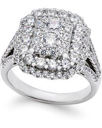 Macy's - Diamond Cluster Engagement Ring (1-3/4 Ct. T.w.) In 14k White Gold - Lyst
