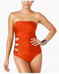 Carmen Marc Valvo - Cutout Strapless One-piece Swimsuit - Lyst