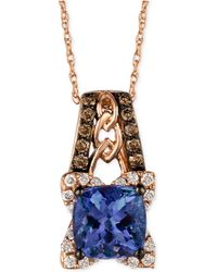 Le Vian - Tanzanite (1-3/8 Ct. T.w.) And Diamond (1/3 Ct. T.w.) Pendant Necklace In 14k Rose Gold - Lyst