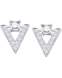 Swarovski - Silver-tone Crystal And Pavé Chevron Drop Earrings - Lyst