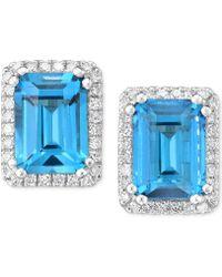 Macy's - Blue Topaz (2-1/4 Ct. T.w.) & Diamond (1/6 Ct. T.w.) Stud Earrings In 14k White Gold - Lyst