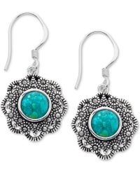 Macy's - Marcasite And Manufactured Turquoise Drop Earrings In Fine Silver-plate - Lyst