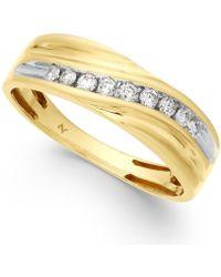 Macy's - Men's Diamond Swirl Band (1/4 Ct. T.w.) In 10k Gold - Lyst