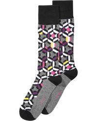 Alfani - Patchwork Multi Geo Dress Socks, Created For Macy's - Lyst