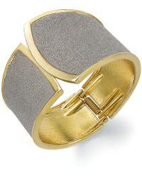 ABS By Allen Schwartz - Gold-tone Grey Texture Cuff Bracelet - Lyst