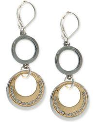 Nine West | Tri-tone Pavé Circle Double Drop Earrings | Lyst