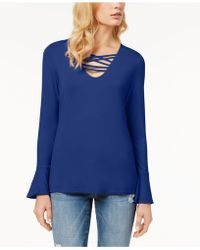 INC International Concepts - Petite Lattice-neck Jersey Top, Created For Macy's - Lyst